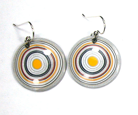 DVH Ford Truck Fordite Earrings Sterling French Wire 27mm Round (2956)