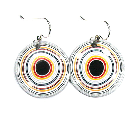 DVH Ford Truck Fordite Earrings Sterling French Wire 27mm Round (2957)