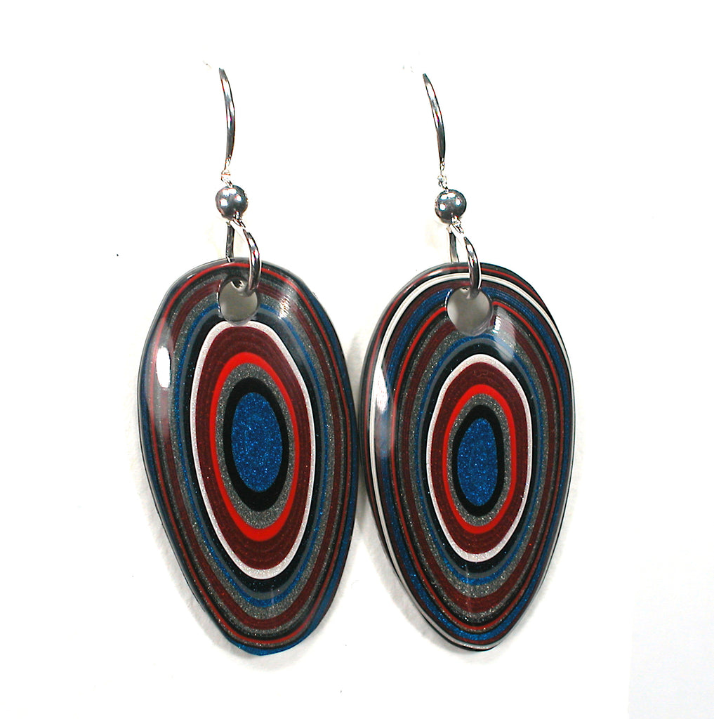 DVH Ford Truck Fordite Earrings Sterling Silver 29x16x3 (3017)