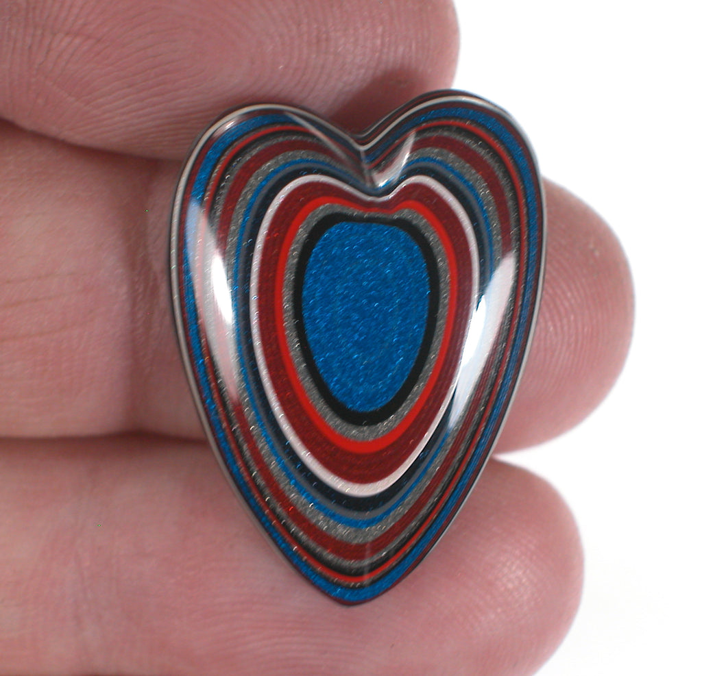 DVH Ford Truck Fordite Cabochon Freefrom Heart Cab 29x21x4 Recycled Car Paint (3026)