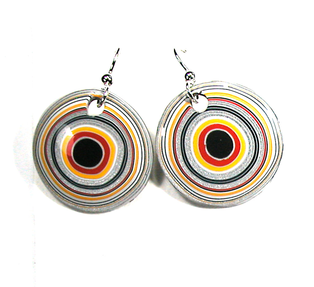 DVH Ford Truck Fordite Earrings Sterling Silver 26mm Round (3034)