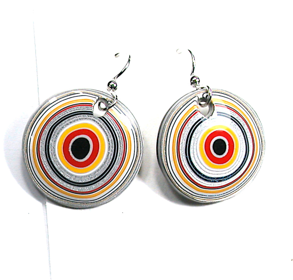 DVH Ford Truck Fordite Earrings Sterling Silver 26mm Round (3035)