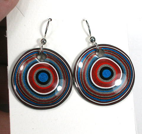 DVH Ford Truck Fordite Earrings Sterling Silver 26mm Round (3036)