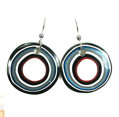 DVH Ford Truck Fordite Earrings Sterling Silver 26mm Round (3037)