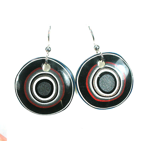 DVH Ford Truck Fordite Earrings Sterling Silver 26mm Round (3038)