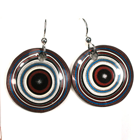 DVH Ford Truck Fordite Earrings Sterling Silver 26mm Round (3039)