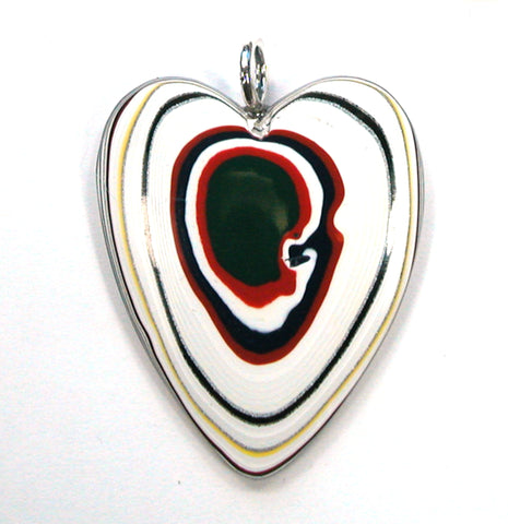 DVH Kenworth Truck Fordite Heart Pendant Sterling Bail  44x36x6 (3191)