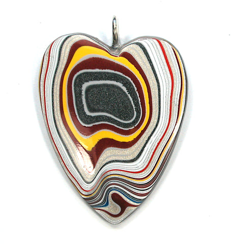 DVH Ford Focus Fordite Heart Pendant Sterling Bail  50x40x6 (3193)
