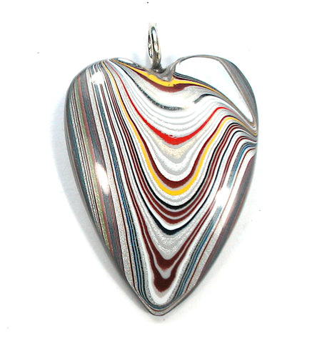 DVH Ford Focus Fordite Heart Pendant Sterling Bail  45x33x10 (3194)