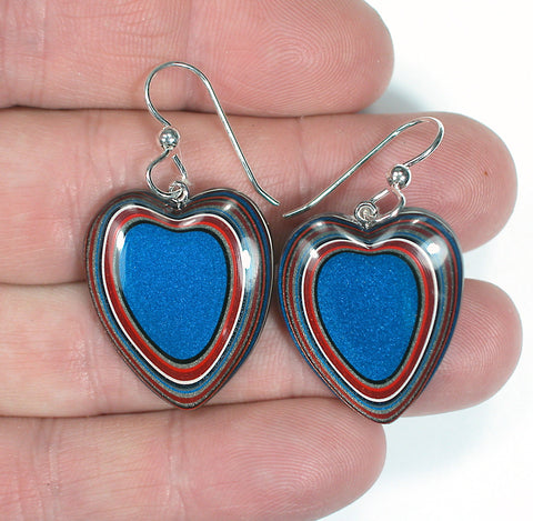 DVH Ford Truck Fordite Heart Earrings Sterling Kansas City Assembly 27x23x4 (3280)