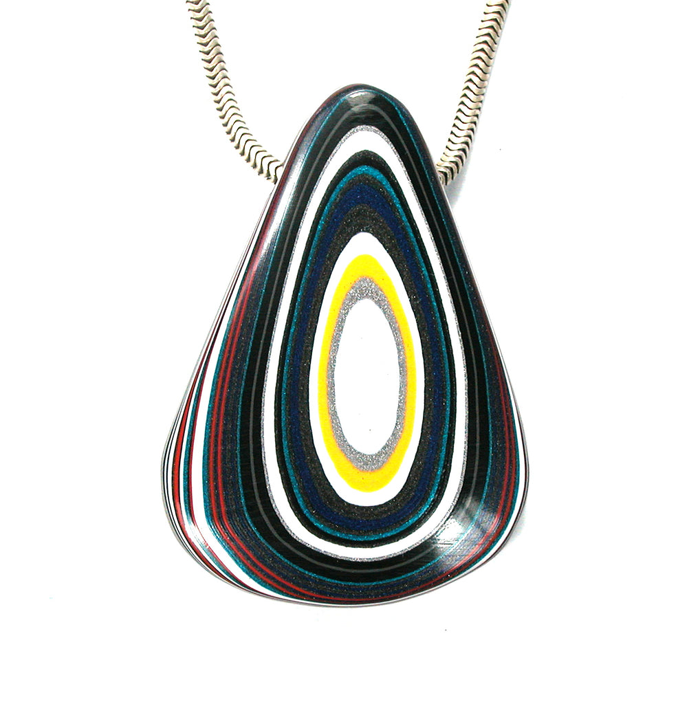 DVH Jeep Fordite Recycled Car Paint Bead Pendant 45x32x8 (2602) - DVHdesigns