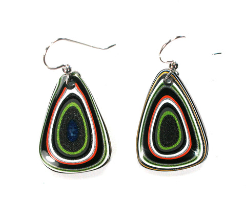 DVH Jeep Fordite Recycled Car Paint Earrings 24x18x4 (2609)