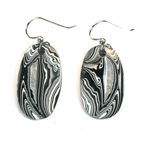 DVH Jeep Fordite earrings Sterling French Wire 28x17x4 (3180)
