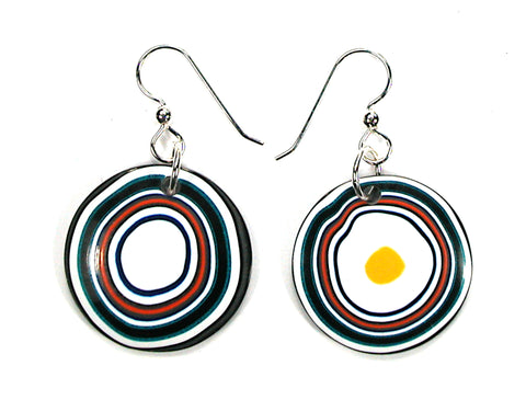 DVH Jeep Fordite Earrings Sterling Recycled Car Paint 27mm Rd (3468)