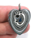 DVH Jeep Fordite Heart Pendant Necklace Recycled Car Paint 31x26x7 (3503)