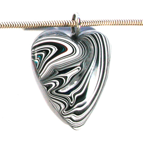 DVH Jeep Fordite Heart Pendant Necklace Recycled Car Paint 32x25x8 (3506)