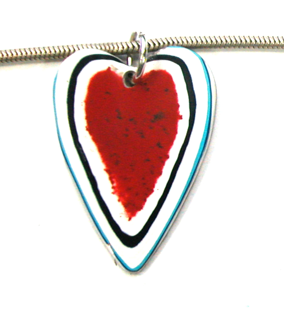 DVH Kenworth Fordite Heart Pendant Recycled Truck Paint 39x33x3 (3265)