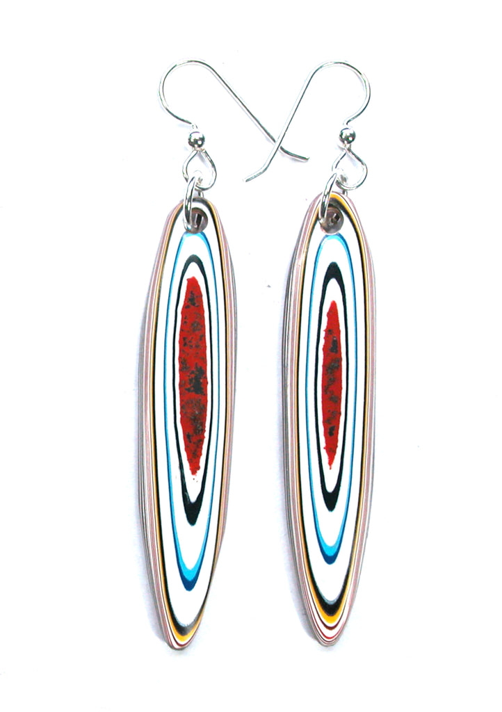 DVH Kenworth Fordite Earrings Sterling Silver Recycled Truck Paint 58x12x5 (3267)