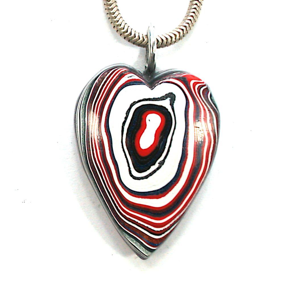 DVH Kenworth Trucks Fordite Heart Pendant Necklace Recycled31x23x8 (3463)