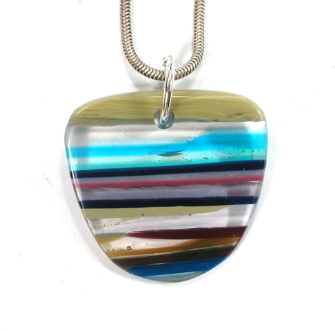 DVH Fordite Surf Board Surfite Stone Resin Pendant 31x32x6 (2692)
