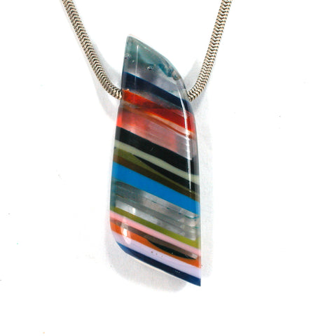 DVH Fordite Surf Board Surfite Stone Resin Bead Pendant 43x15x8 (2694)