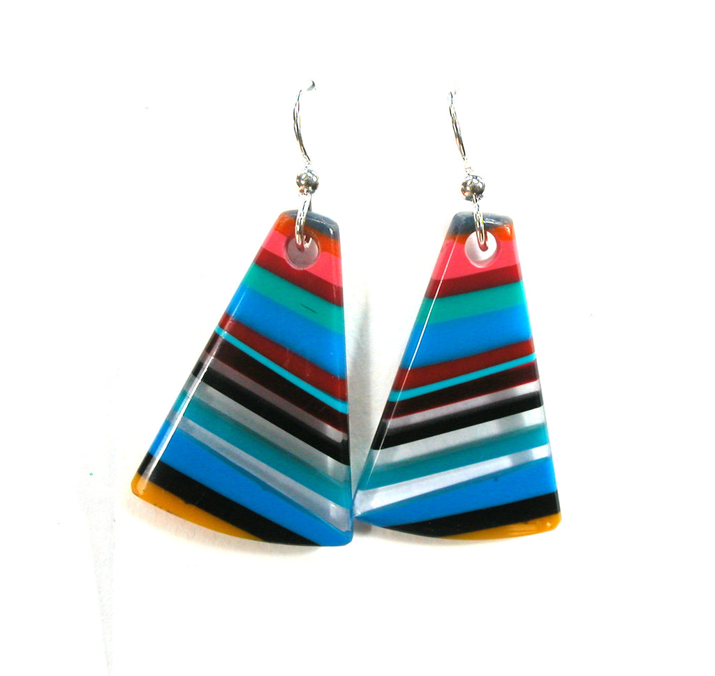 DVH Fordite Surf Board Surfite Stone Resin Earrings Sterling Silver 34x22x7 (2697)