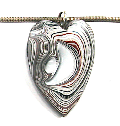 DVH Ford Focus Fordite Heart Pendant Wayne Michigan 45x33x6 (3592)