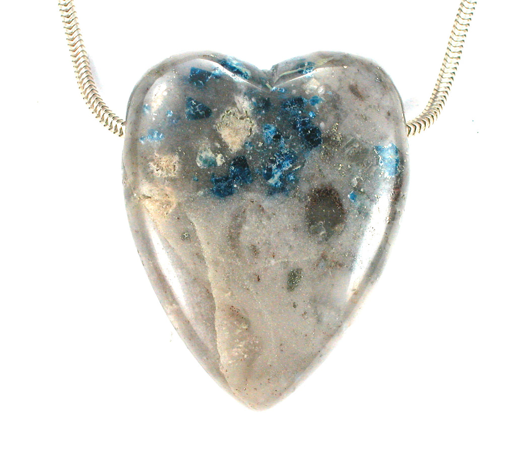 Graves Mountain Lazulite Quartz Pyrite Heart Bead Georgia 45x35x13 (2796)