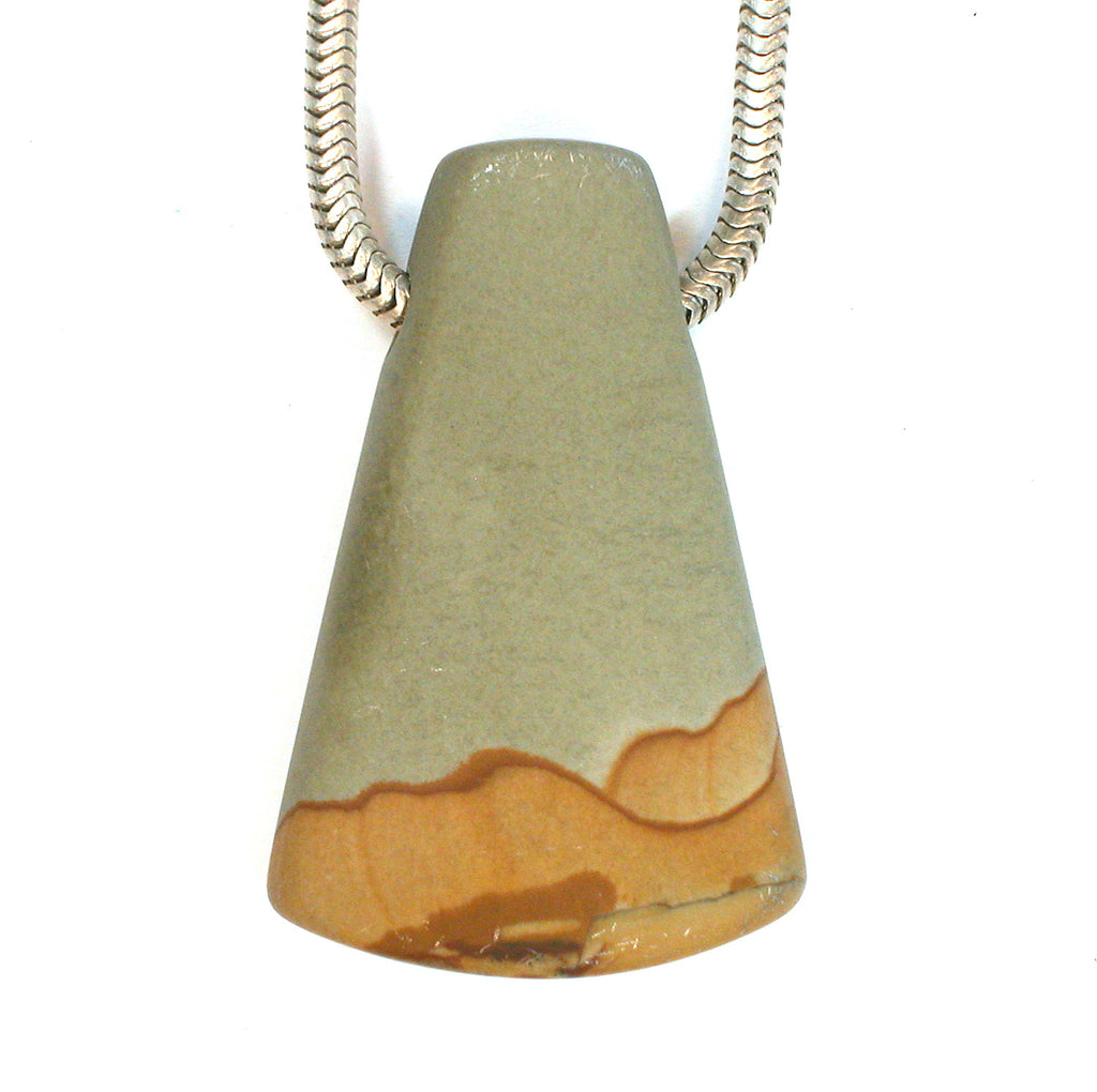 DVH Oregon Owyhee Picture Jasper Matte Bead Pendant 38x24x9mm (1874) - DVHdesigns