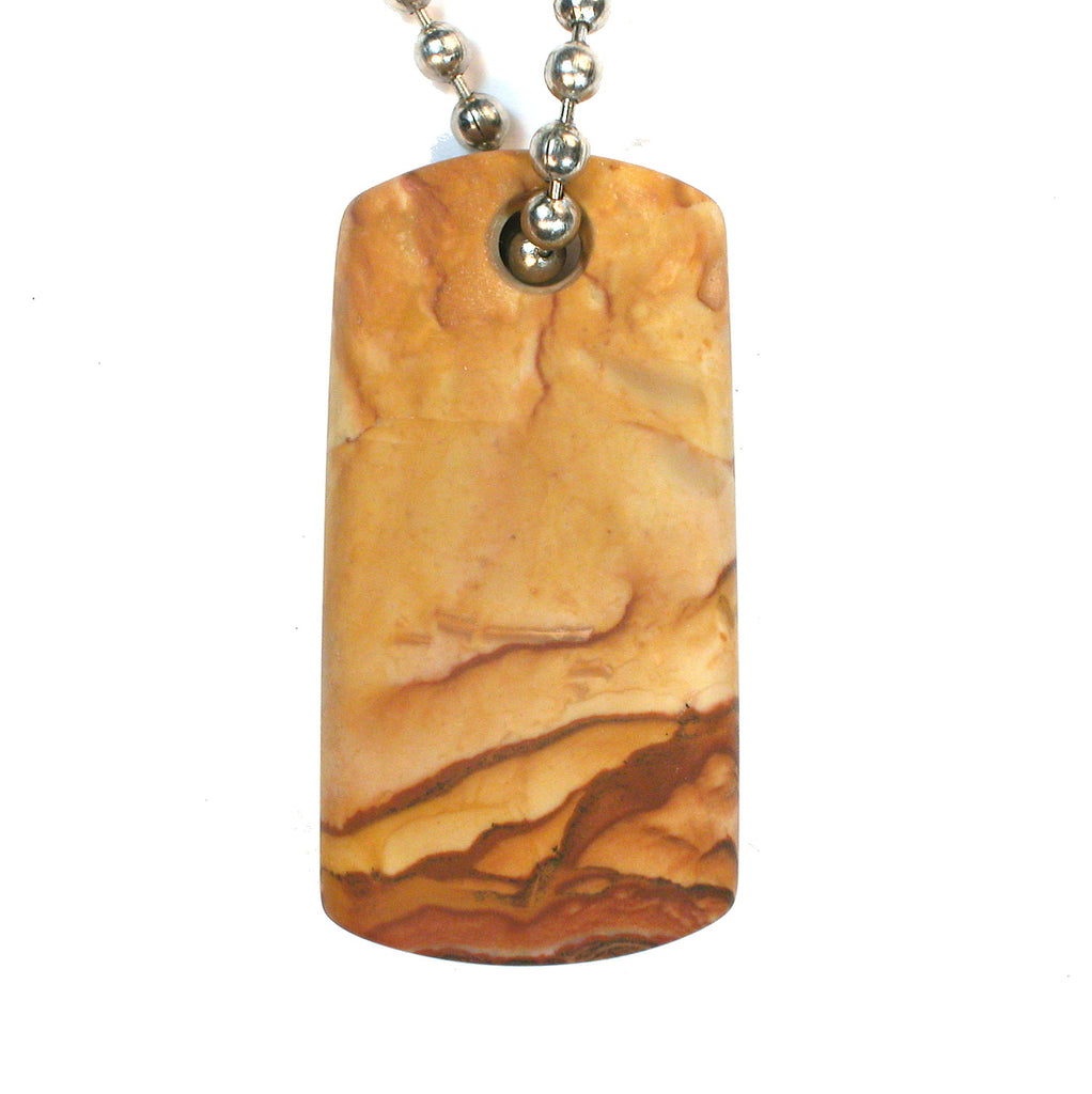 DVH Oregon Rocky Butte Picture Jasper Matte Dog Tag Bead Pendant 44x25x5mm (1890) - DVHdesigns