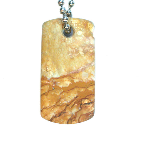 DVH Oregon Rocky Butte Picture Jasper Matte Dog Tag Pendant 48x24x6mm (1896) - DVHdesigns