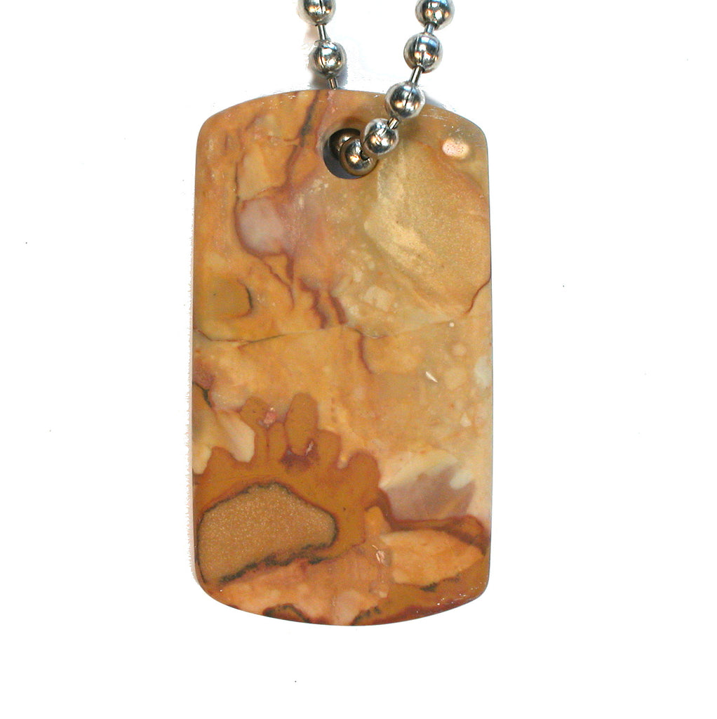 DVH Oregon Rocky Butte Picture Jasper Matte Dog Tag Pendant 43x24x3mm (1897) - DVHdesigns