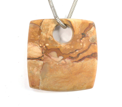 DVH Rocky Butte Picture Jasper Matte Bead Pendant Dangle 40x38x6 (2592) - DVHdesigns