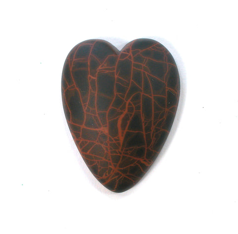 DVH Oregon Spiderman Jasper Heart Cabochon Matte Cab 32x25x7 (2678)
