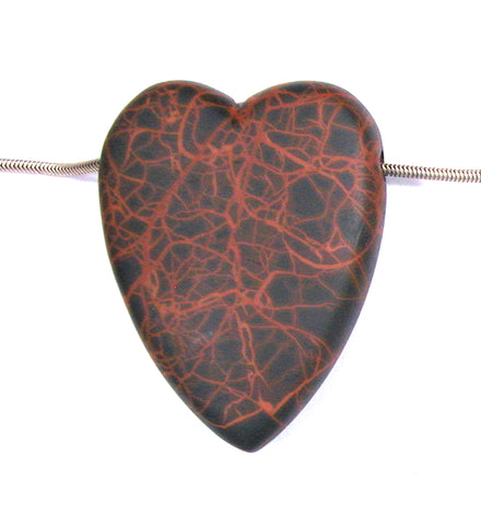 DVH Oregon Spiderman Jasper Heart Bead Pendant Matte 50x38x12 (2759)