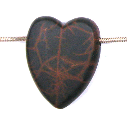 DVH Oregon Spiderman Jasper Heart Bead Pendant Matte 38x30x10 (2762)