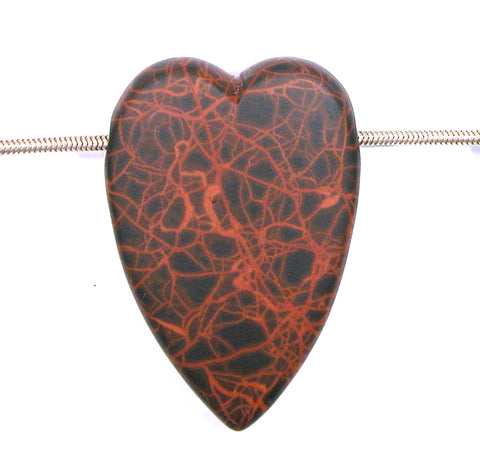 DVH Oregon Spiderman Jasper Heart Bead Pendant Matte 52x35x12 (2763)