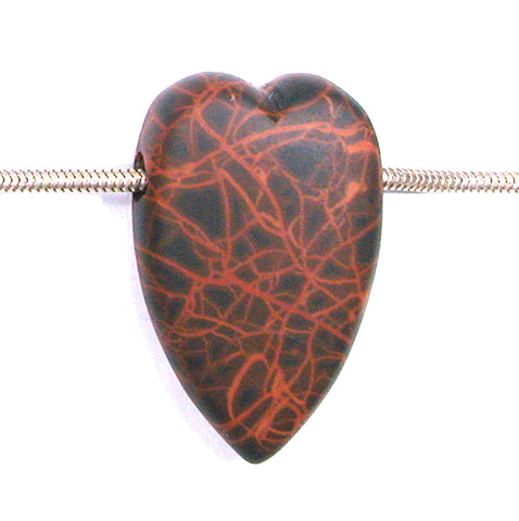 DVH Oregon Spiderman Jasper Heart Bead Pendant Matte 35x22x11 (2764)