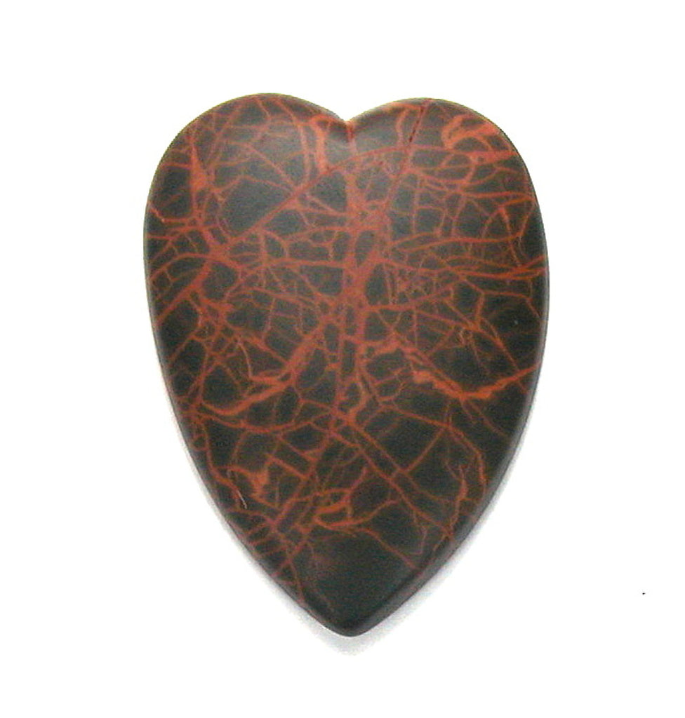 DVH Oregon Spiderman Jasper Heart Cabochon Matte Cab 47x35x7 (2767)