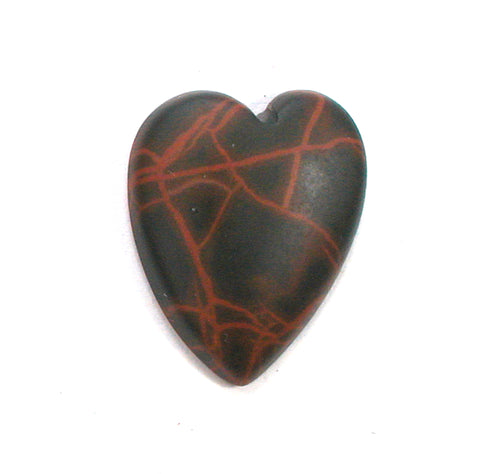 DVH Oregon Spiderman Jasper Heart Cabochon Matte Cab 21x17x4 (2824)