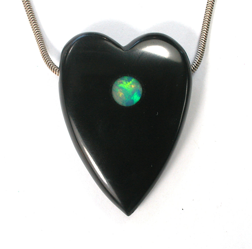 DVH Jet Mourning Heart Bead Ethiopian Opal Inlay Jewelry 42x30x9 (2640) - DVHdesigns