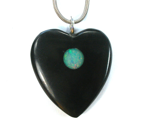 DVH Jet Mourning Jewelry Heart Pendant Ethiopian Opal Inlay 37x34x7 (2672)