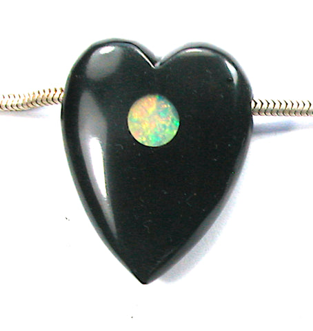 DVH Jet Mourning Heart Bead Ethiopian Opal Inlay Jewelry 35x27x11 (3123)