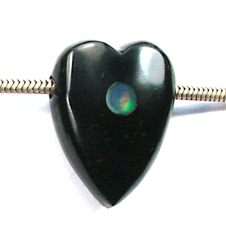 DVH Jet Mourning Heart Bead Ethiopian Opal Inlay Jewelry 27x20x12 (3125)