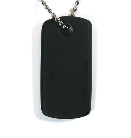 DVH Jet Mourning Jewelry Dog Tag Bead Pendant Matte Military Style 43x21x5mm (2044)