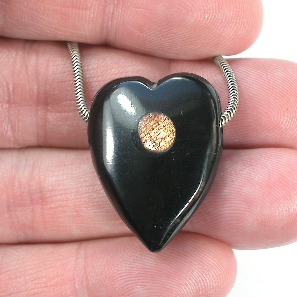DVH Jet Mourning Heart Bead Pendant Sunstone Inlay Jewelry 29x22x11 (3063)