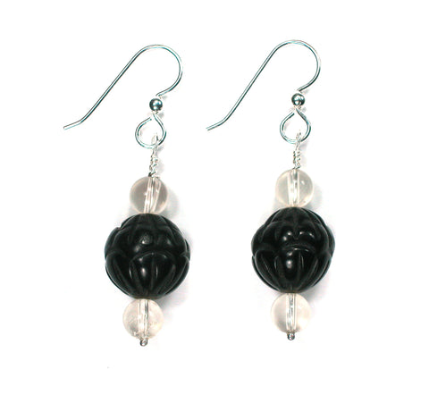 DVH Genuine Jet Mourning Jewelry Earrings Oregon Sunstone Large - DVHdesigns