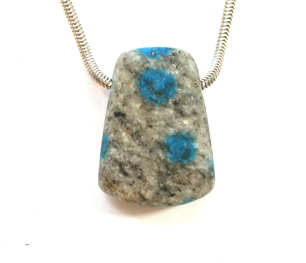 "DVH K2 Blue ""Jasper"" Azurite in Granite Custom Pendant 29x21x13mm (1742) - DVHdesigns"
