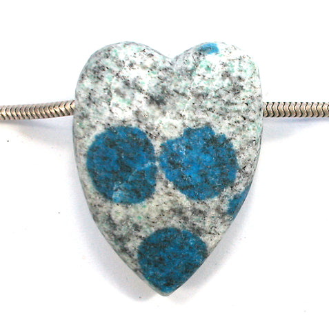 "DVH K2 Blue ""Jasper"" Azurite in Granite Custom Heart Bead 40x30x13 (3110)"