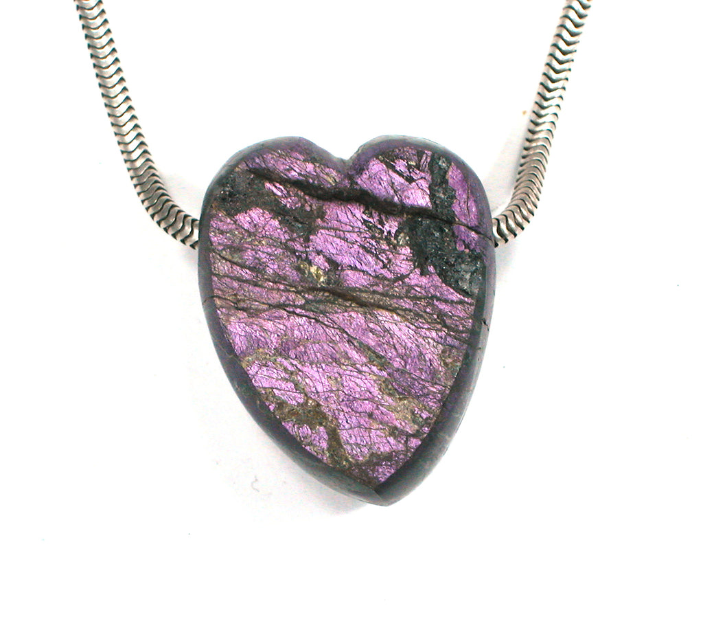 DVH Purpurite Bead Heart Namibia Natural Surface Purple 27x21x12mm (2369) - DVHdesigns